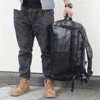 Из натуральной кожи Для мужчин дорожные сумки Overnight Duffel Bag Рюкзак 774 40 путешествие на выходные Большой Вместительная женская сумка через пле
