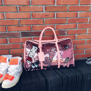 Image 1 - Fashion Travel Bag Sequins Overnight Bag Portable Duffle Bags Large Capacity Quitte Bags for Women Men Big Weekend Tote Pink