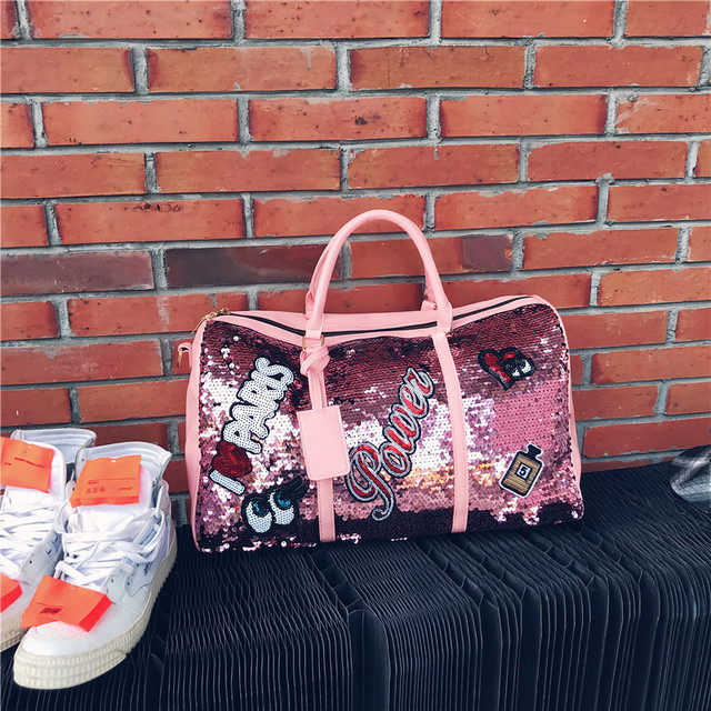Fashion Travel Bag Sequins Overnight Bag Portable Duffle Bags Large Capacity Quitte Bags for Women Men Big Weekend Tote Pink