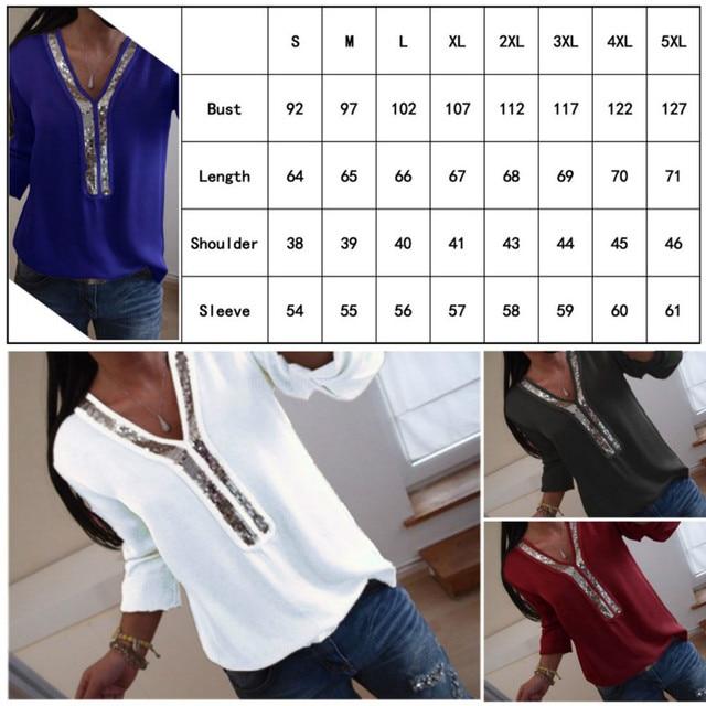 T-Shirt à manches longues col en V pour femmes, T-Shirt ample avec paillettes grande taille, arrivée au bureau, collection décontracté