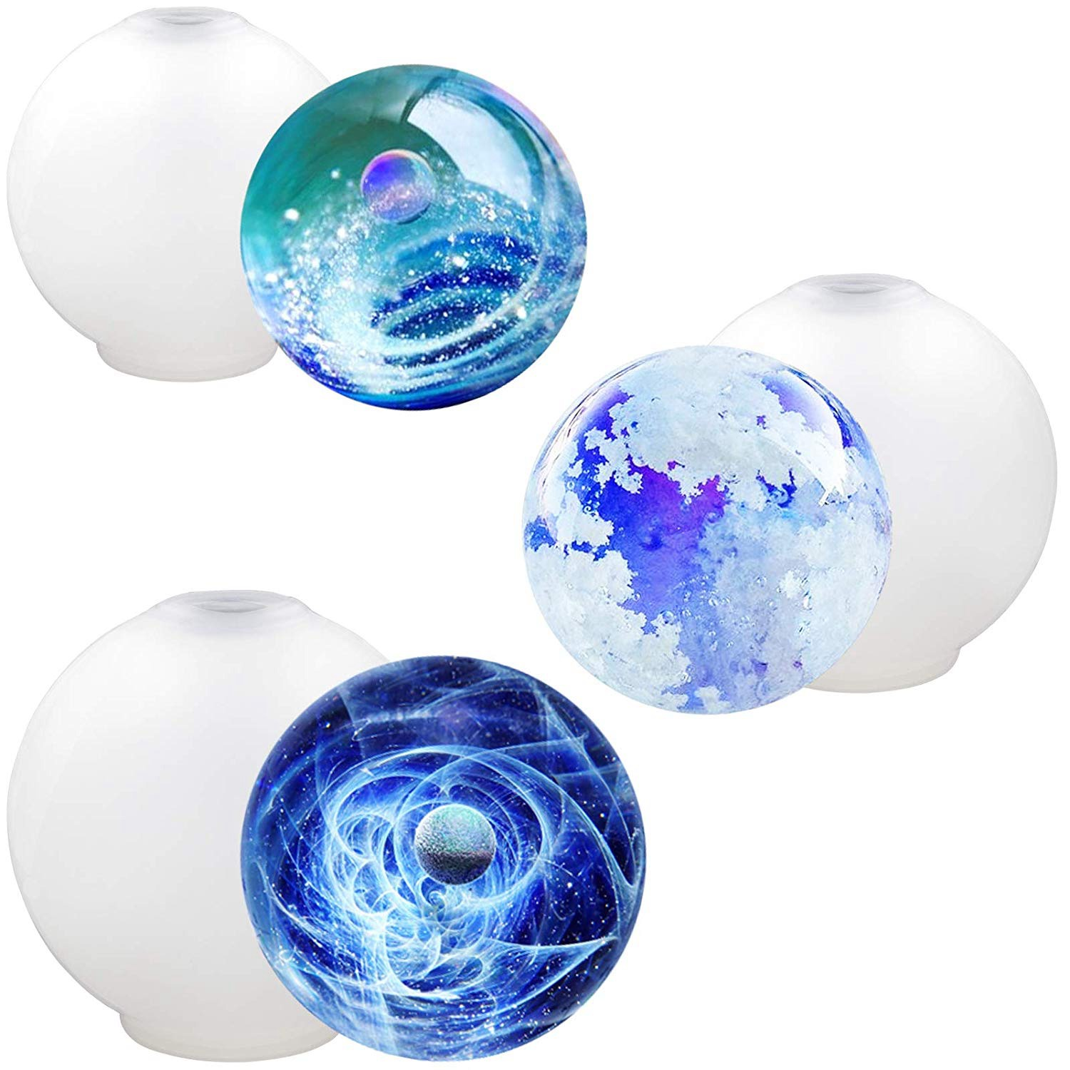 Sphere Chaim Ball Resin Mold Flexible Mouth And No Leaking Assorted Sizes 3-Count