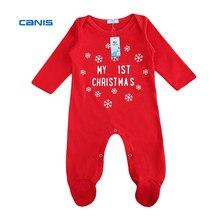 CANIS г. рождественский комбинезон для маленьких мальчиков и девочек, комбинезон с длинными рукавами для новорожденных, комбинезон с надписью, первая детская одежда на Рождество, красный цвет