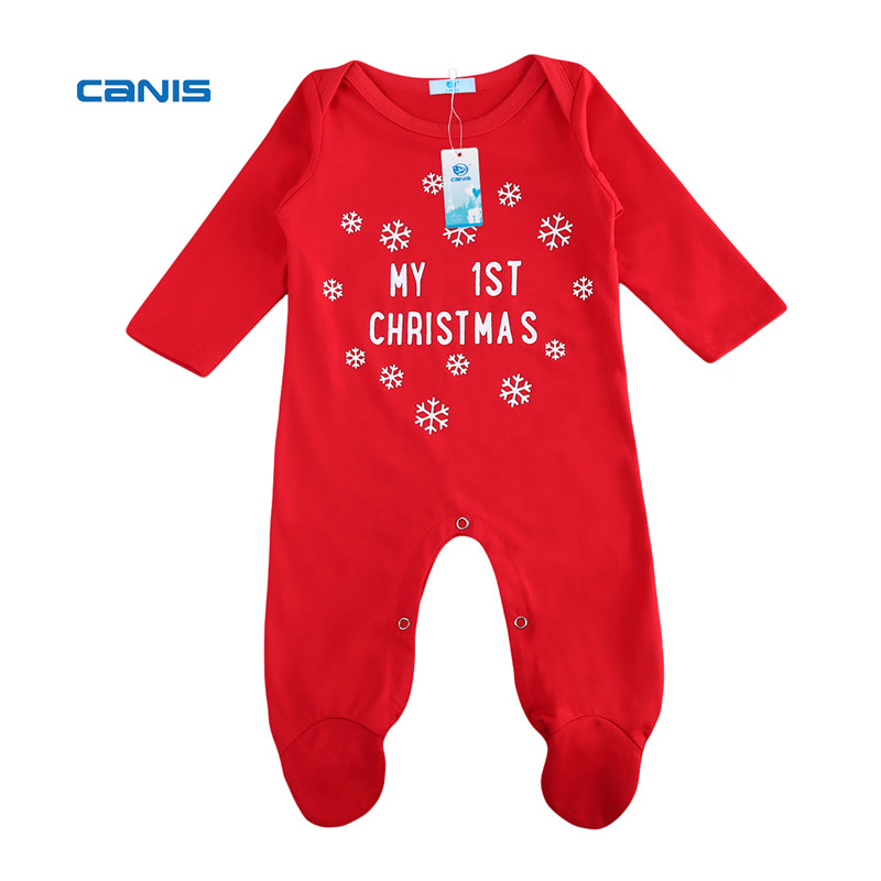 CANIS 2019 New  Christmas Baby Boy Girls Romper Long Sleeves Infant Newborn Baby Letter Romper First Baby Christmas Clothes Red