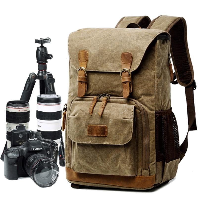 YXCM Camera Case,Outdoor Fashion Vintage Canvas Shoulder Bag SLR Video Camera Leisure Travel Camera Protective Cover Suitable for Canon Nikon Sony,Khaki