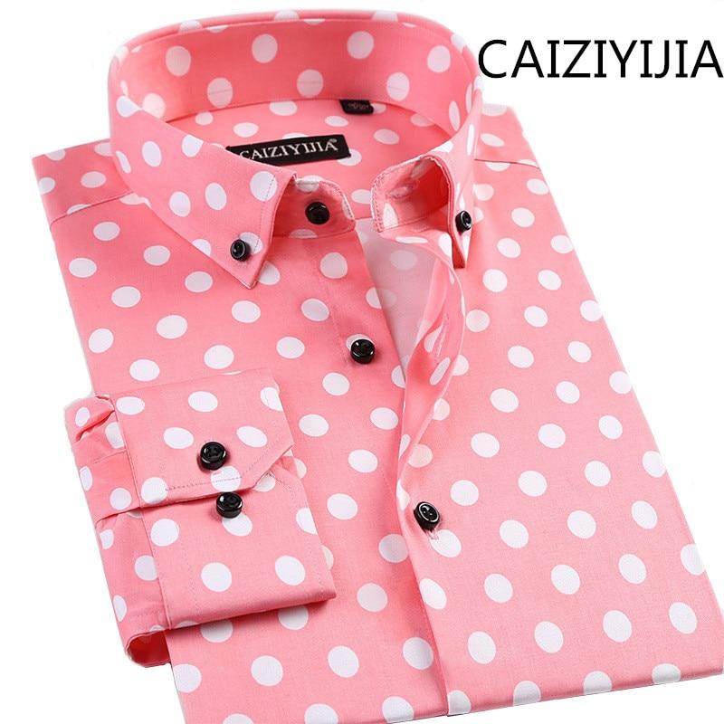 CAIZIYIJIA New Mens Casual Polka Dot Silm Fit Long Sleeve Shirt Fashion Cotton Camisa Social Masculina