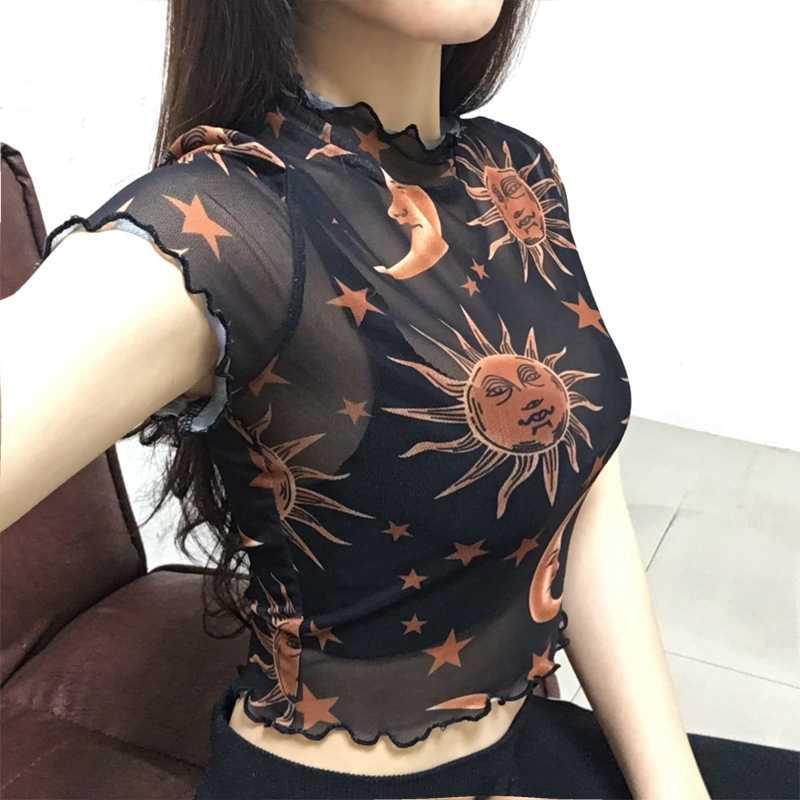 Nowe mody kobiety Mesh Sheer przezroczyste z krótkim rękawem Crop Top panie z golfem księżyc gwiazdy czarna siatka T Shirt topy