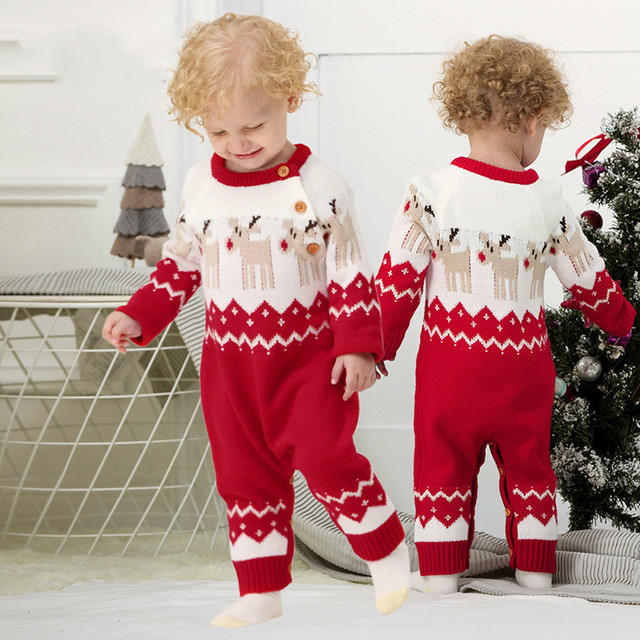 caf97a520327 Baby Boys Rompers Winter 2018 Newborn Girls Christmas Jumpsuits Long  Sleeves Infant Bebe Overalls Knitted Toddler One Piece Wear