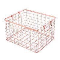 High end Elegant Rose Gold Storage Basket With Handle Wrought Iron Practical Home Laundry Hamper Desktop Fruit Finishing Stable