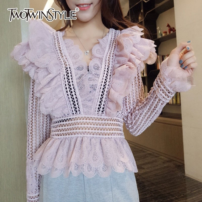 TWOTWINSTYLE Ruffles Lace Blouses Tops Female V Neck Long Sleeve Patchwork Hollow Out Women s Shirts