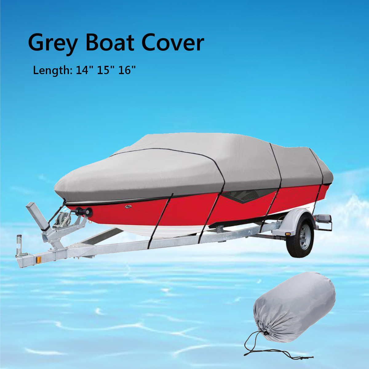 530X290cm V Hull Trailerable Boat Cover Waterproof Fishing Ski Bass for Speedboat V shape Grey