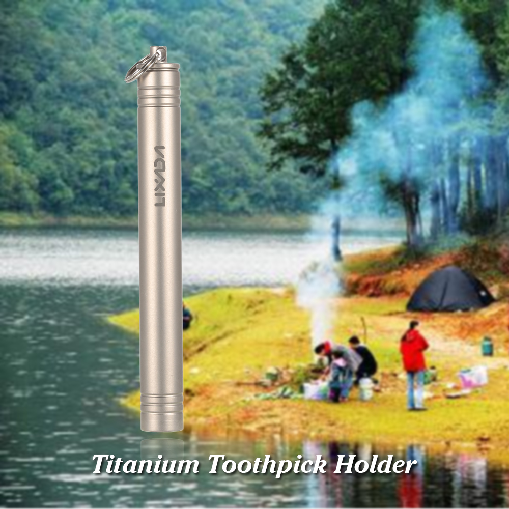 Pocket waterproof titanium alloy toothpick holder outdoor traveling tool A!