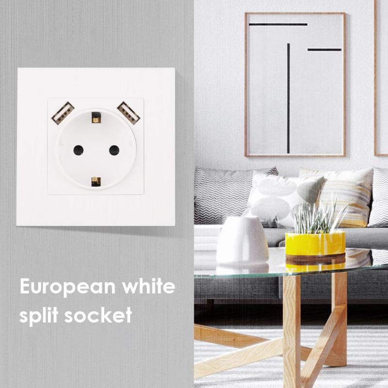 USB Wall Socket Double USB Port 220-250V 16A Socket Power Outlet enchufes para pared prise electrique prise usb murale steckdose