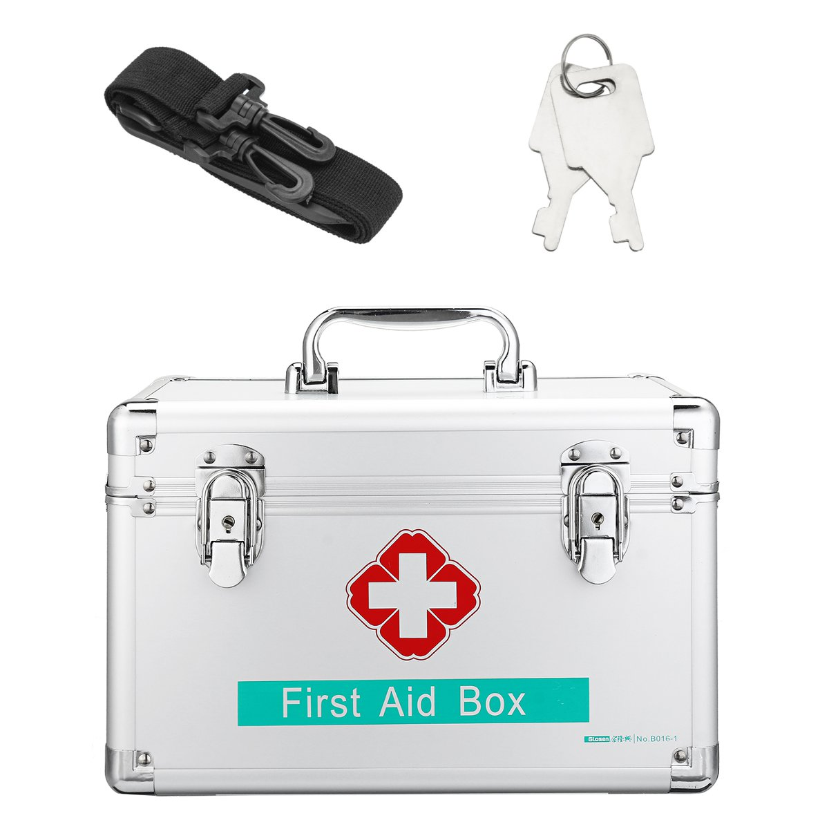 Lockable First Aid Case Durable Aluminum Frame Medicine Storage Container Box For Home Travel Workplace Household Medical 12Inch