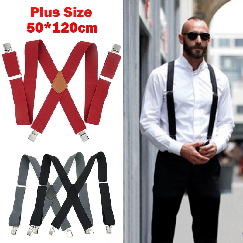 Red Color Mens 50mm Wide Braces Plain Heavy Duty Suspender Elastic Adjustable