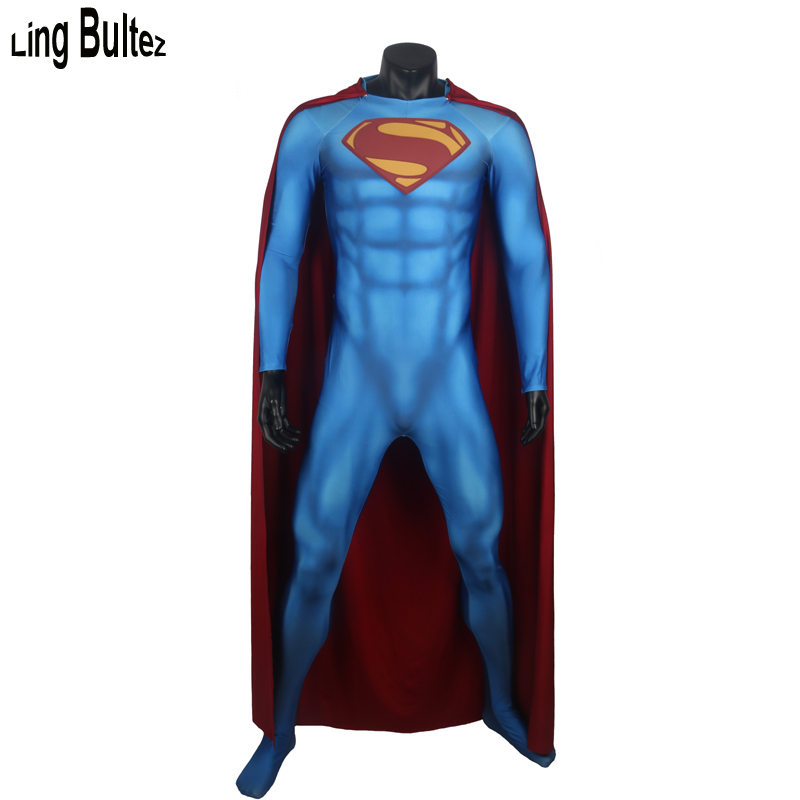 Ling Bultez High Quality Newest Muscle Shade Superman Cosplay Costume For Halloween Relief Logo 3D Print Super Man Suit For Man