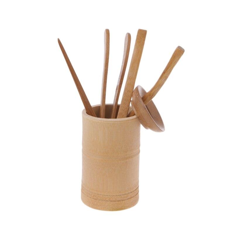Hot Sale 6Pcs Tea Ceremony Utensils Set Bamboo Teaspoons Needle Clip Strainer Tong Tube