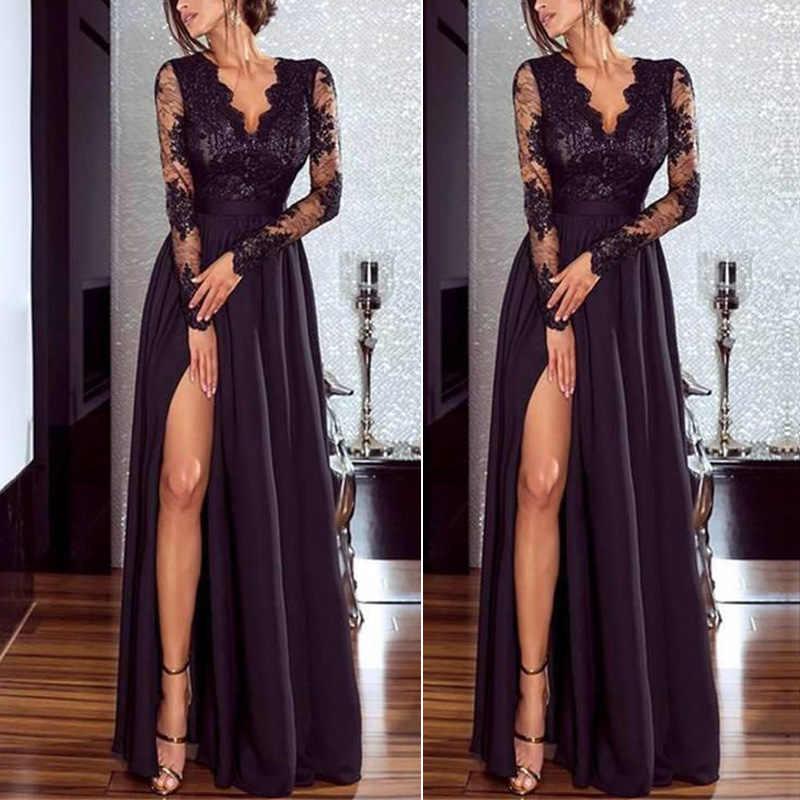 Женское платье черного цвета с кружевом длинное официальное вечернее коктейльное платье на выпускной