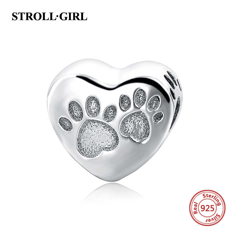 Prawdziwe 925 srebro charms kształt serca mój pies ślady koraliki Fit bransoletka Pandora charms wisiorek biżuteria making