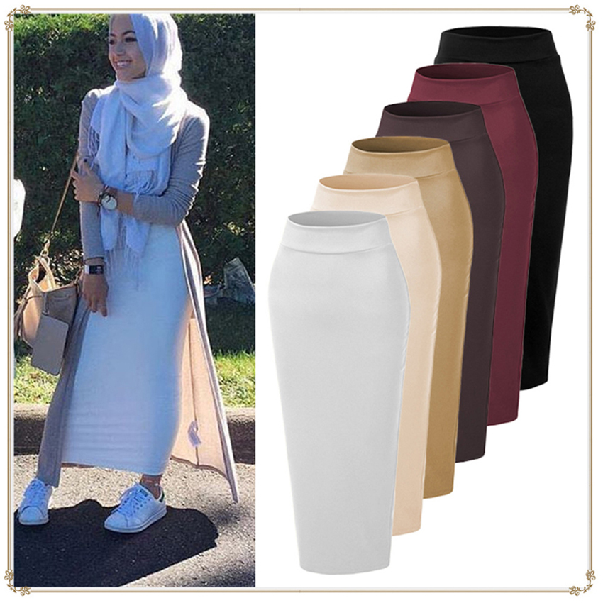 Woman Suede Pencil Skirt Muslim Traditional Ethnic Costumes Bodycon Solid Black Middle East Arab Islamic Lady Skirt Outfits
