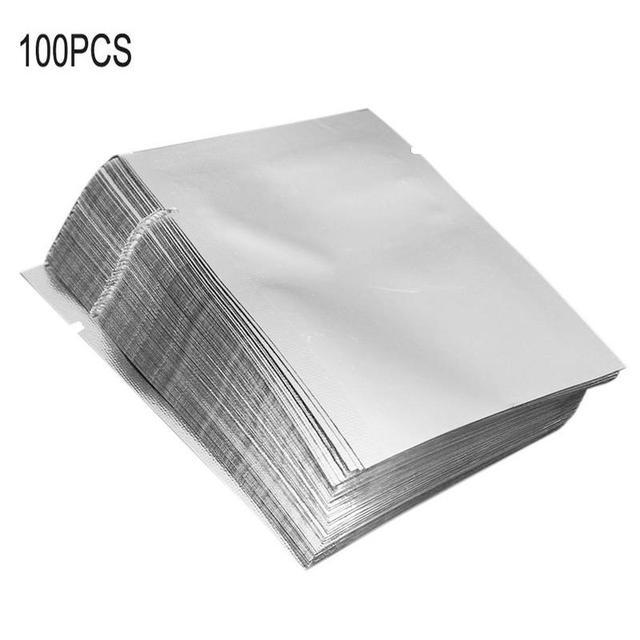 100 PCS Aferidor Do Vácuo de Alumínio de Prata Mylar Folha de Saco Zip Lock Bolsas Pacote De Armazenamento De Alimentos Cozinha Ferramentas