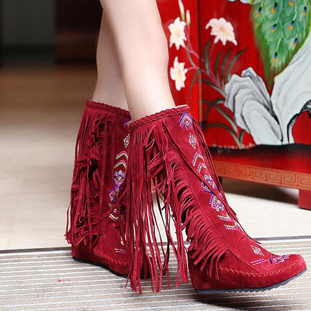 On Rodilla Botas Punta Moda Floral Étnica Flecos amarillo Nuevo Negro Borla Bohemia Zapatos Redonda rojo Casual Altas Sólido Mujer Caliente marrón Slip Flats XzXgq