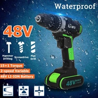 48V Rechargeable LI ION battery Cordless Electric Drill Wrench Double Speed Adjustment LED Carpentering tools Power Tools