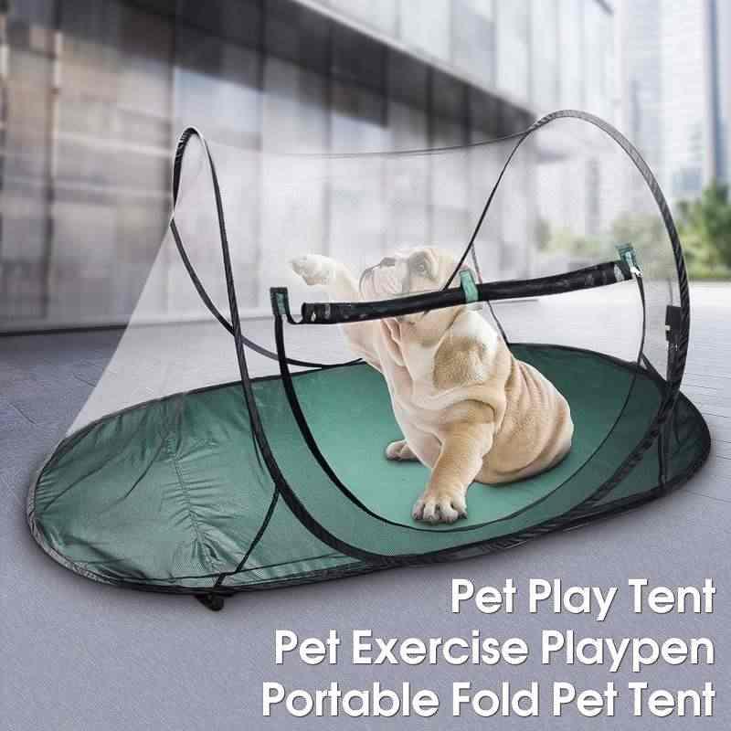 Anjing dan Kucing Terbuka Folding Tent Camping Mesh Boks Menyenangkan Membawa Tas Boks Anak Anjing Kennel Pagar Perlengkapan Outdoor