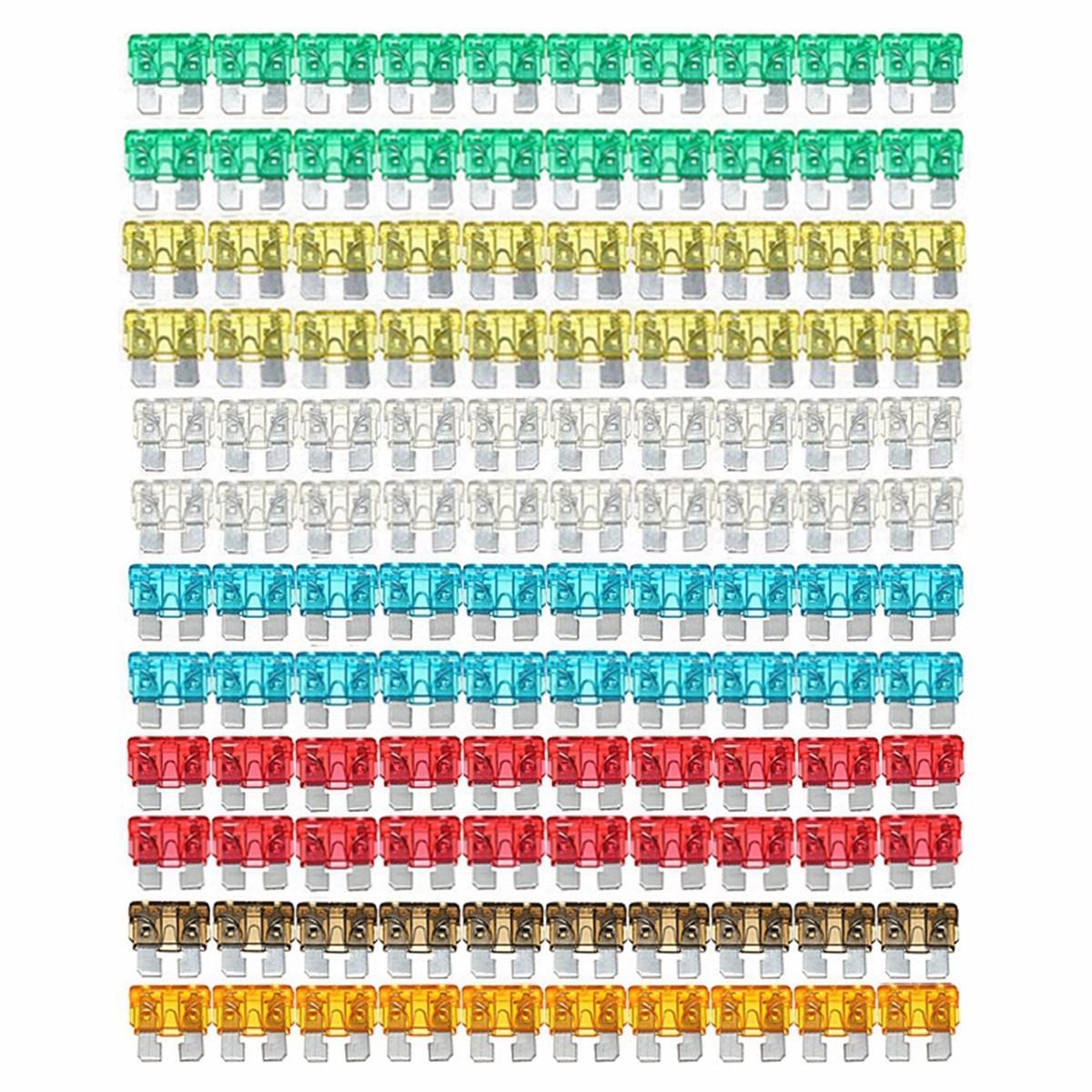 7 cores 120 pçs/set sortidas padrão misto carro auto lâmina fusível 5 a 7.5 a 10 a 15 20 a 25 a 30 a
