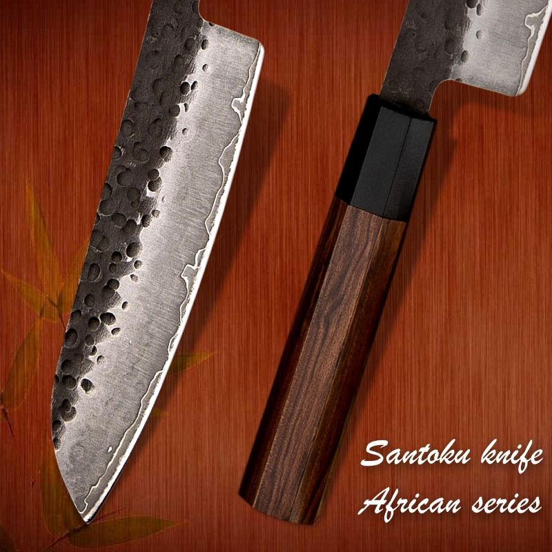 Handmade Santoku Knife 7 inch 3 Layers Japanese AUS10 High Carbon Blade Chef Kitchen Knives Professional Cooking  Slicing Tools 4