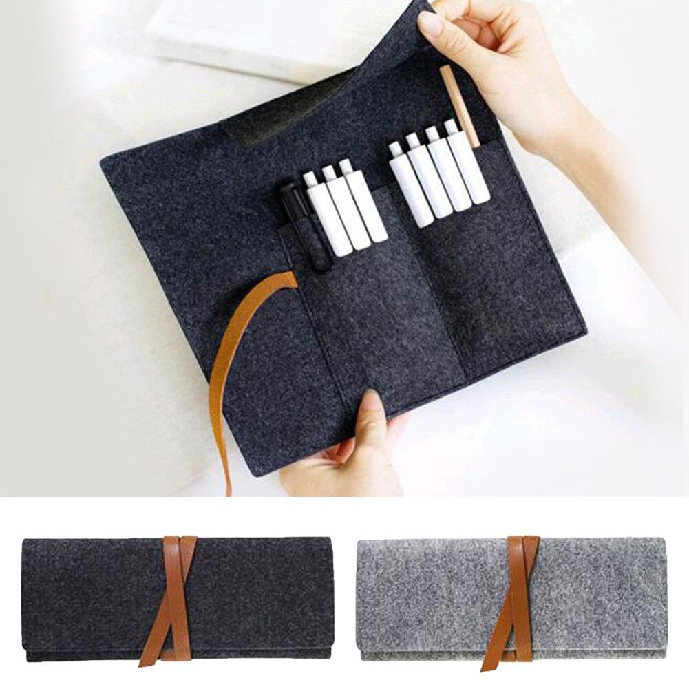 Minimalist Felt Pencil Bags Gray Fabric Cosmetic Bag Pencil Case School Supplies Student Stationery Pencil Makeup Case