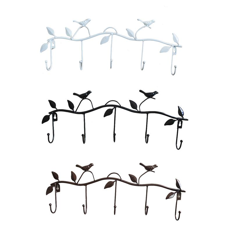 5 Hooks Wrought Iron Bird Door Hook Rack Clothes Rack Robe Key Holder Door Mounted Hat Hanger Kitchen Wall Home Decoration