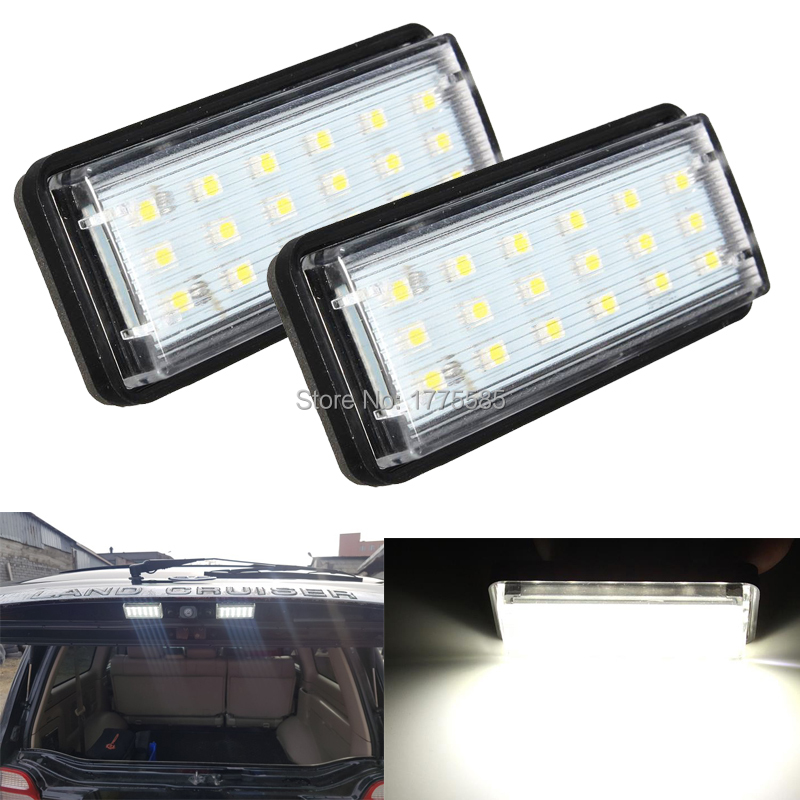 2x White Car LED Number License Plate Light For Toyota Land Cruiser 120 Prado 120 Land Cruiser 200 Lexus LX470 GX470 Error Free Toyota Land Cruiser