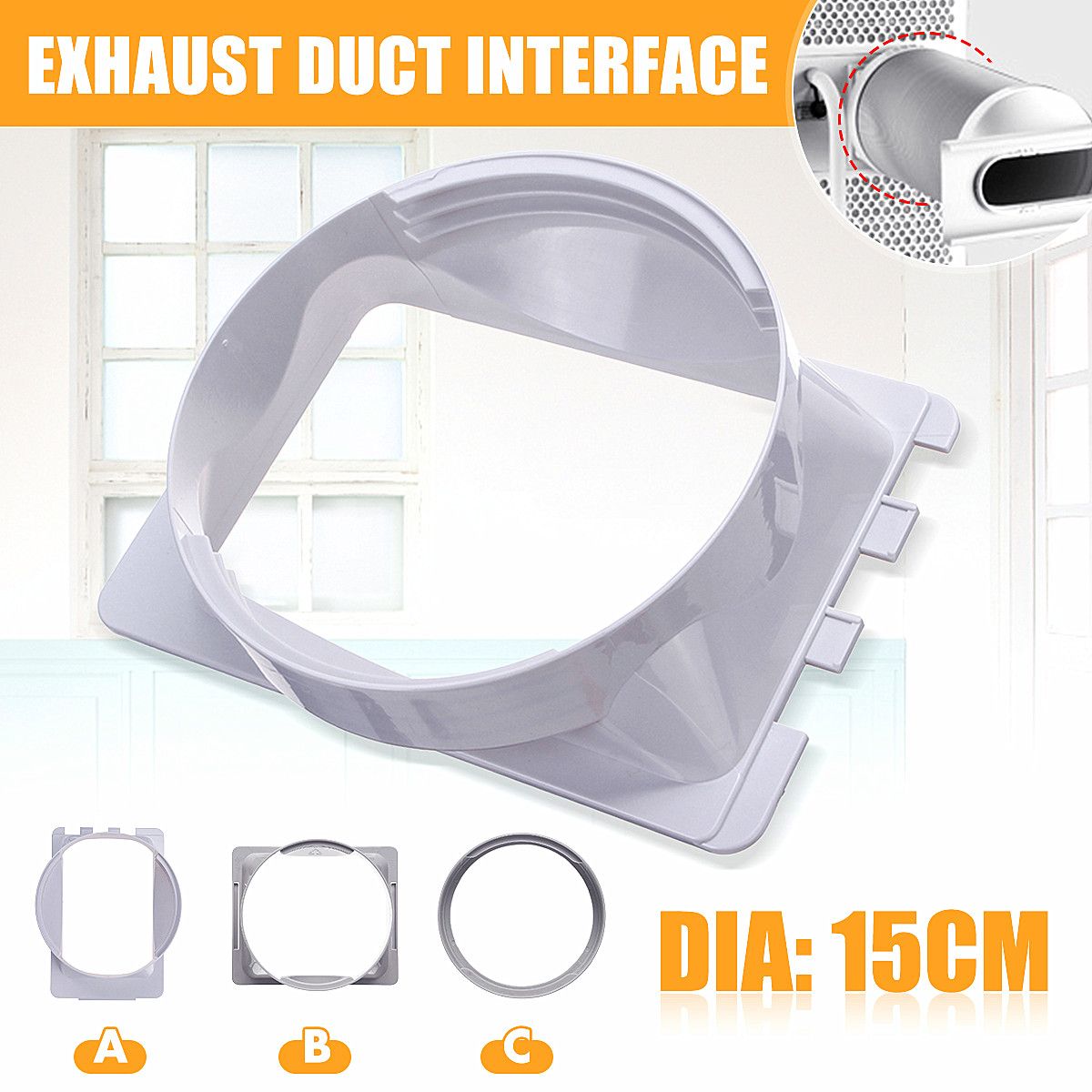 3 Types 15cm/5.9 Portable Air Conditioning Body Exhaust Duct Interface ABS Home Air Conditioner Parts Exhaust Pipe Connector3 Types 15cm/5.9 Portable Air Conditioning Body Exhaust Duct Interface ABS Home Air Conditioner Parts Exhaust Pipe Connector
