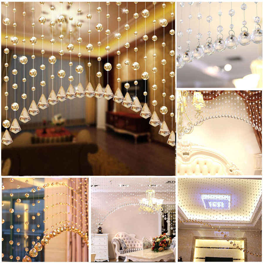 1 String Acrylic Curtain Room Divider Crystal Beads Door Window Panel Wedding Decor Curtains