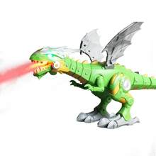 Electric dinosaurs Model Toys walking spray dinosaur robot With Light Sound swing boy's dinosaurios toy for Chrismas gift(China)