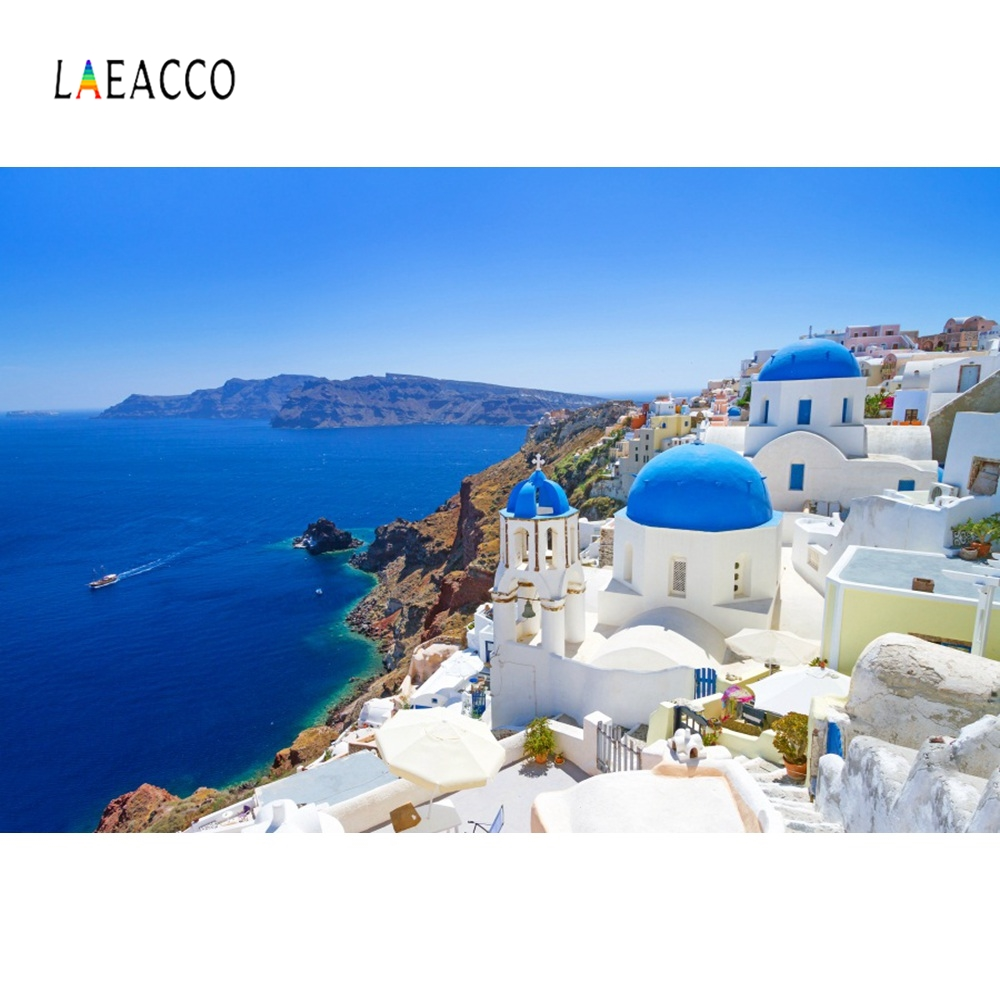 Laeacco Greek Islands House Town Resort Holiday Photography Backgrounds Customized Photographic Backdrops For Photo Studio image