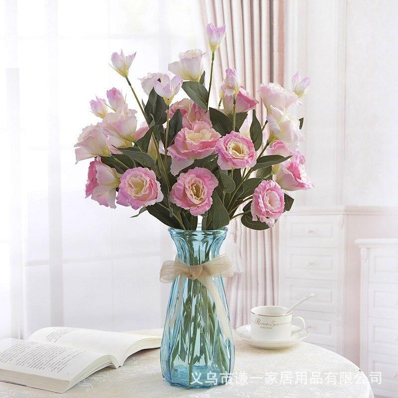 Hot Wholesale 3 Fork 4 Head Eustoma Grandiflorum Landing Simulation Bouquet Home Indoor Decoration Potted Artificial Flowers Dec