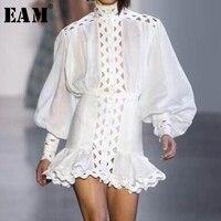 [EAM] 2019 Spring Summer Woman White Turtleneck Long Lantern Sleeve Hollow High Waist Spliced Ruffle 2 Piece Set Dress LI0480