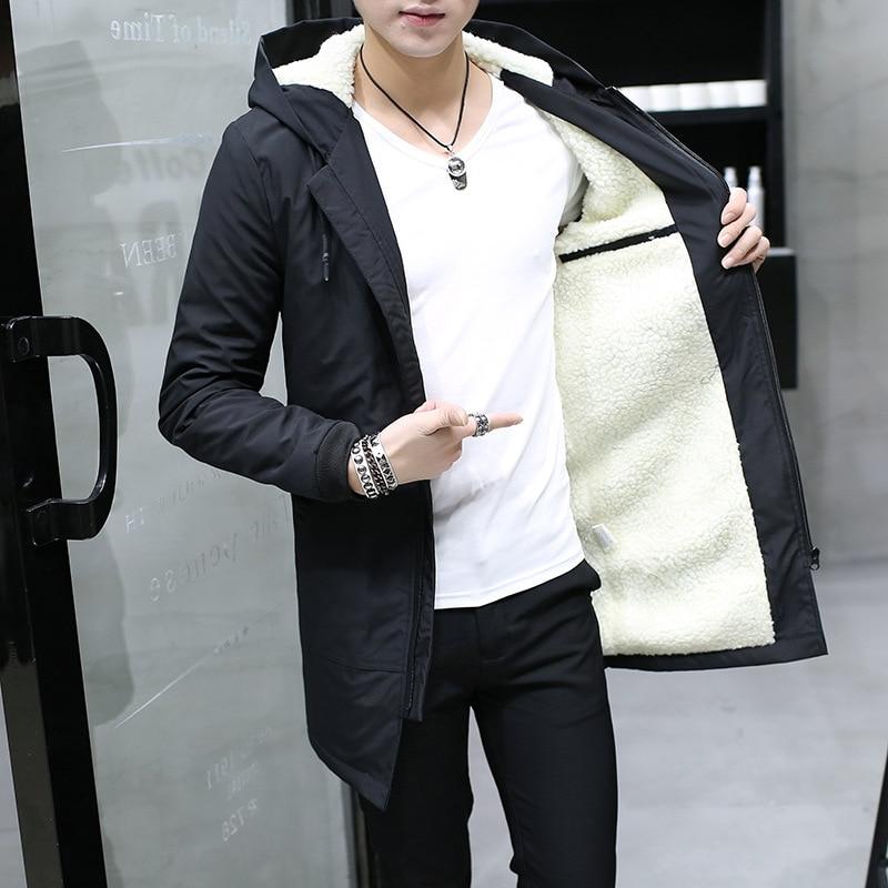 2019 Winter Jacket Men Hooded Slim Korean Parka Hombre Long Jacket Coat Cashmere Mens Windbreaker Parkas Cotton Youth Clothing