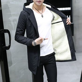 2019 chaqueta de invierno para Hombre con capucha delgada Parka coreana para Hombre Chaqueta larga de Cachemira para Hombre cortavientos Parkas ropa de algodón para jóvenes