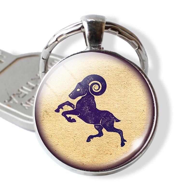 ESSPOC 12 Zodiac Keychains Glass Cabochon Constellation Key Chain Birthday Gifts Horoscope Astrology Glass Keyring