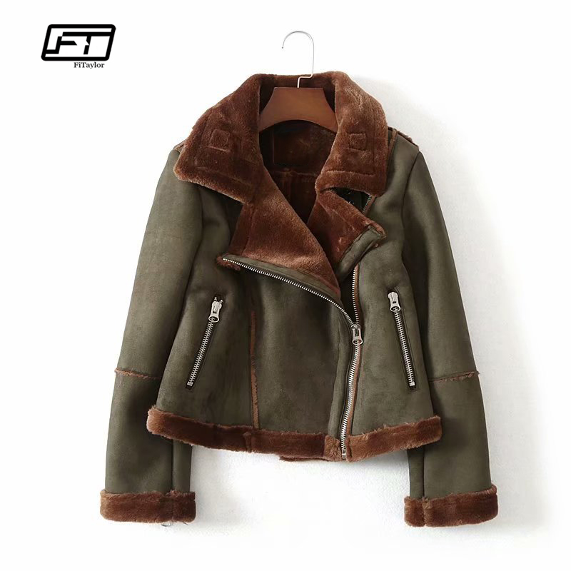 Fitaylor Winter Women Faux   Leather     Suede   Lamb Fur Jacket Warm Moto Zipper   Suede   Short Coats Female Turn-down Army Green Overcoat