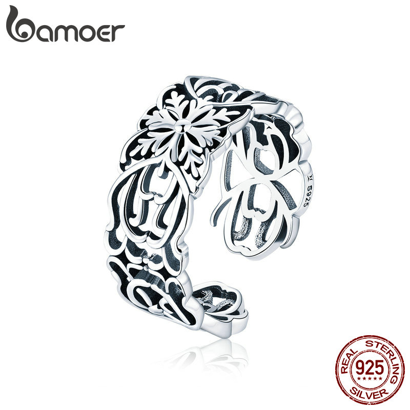 BAMOER Authentic 925 Sterling Silver Vintage Stackable Flower Open Size Finger Rings for Women Fashion Silver Jewelry SCR500BAMOER Authentic 925 Sterling Silver Vintage Stackable Flower Open Size Finger Rings for Women Fashion Silver Jewelry SCR500