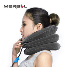 Inflatable Neck Support Brace Three-layer Shape Cervical Traction Headache Pain Relief Massager Health Care Gray Physical Device