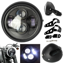 1PCS 6.5 Motorcycle Universal Matte Black LED Headlight High Low Beam With Mount Bracket Fork Ear Chopper Cafe Racer
