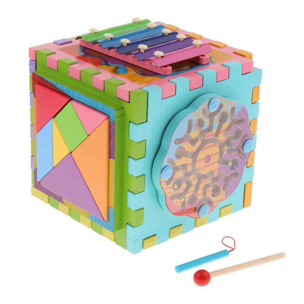 6 en 1 Cube en bois labyrinthe engrenages Tangram Puzzle Xylophone mathématique Musical déconcentration jouets d'apprentissage pour les enfants
