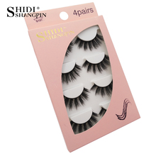 4 pairs makeup thick fake eyelash cruelty free 3d mink eyelashes strip faux cils hand made natural long