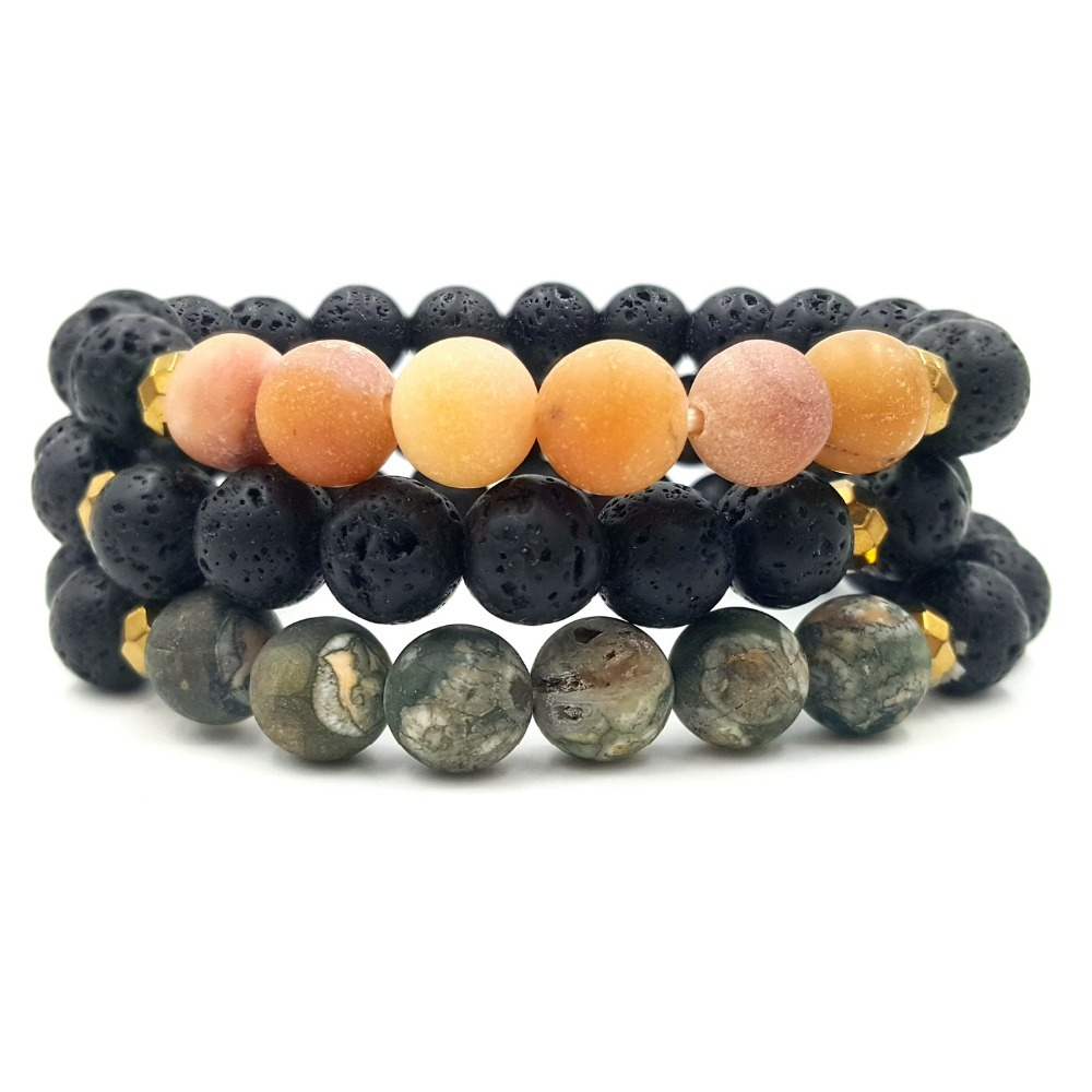 Adjustable 8mm Lava Rock Multi Natural Stone Aromatherapy Anxiety Essential Oil Diffuser Bracelet Chakra Bracelet Men Women