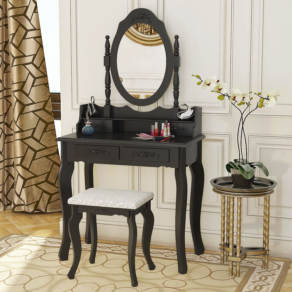 Panana 4 Drawer Vanity Table Set Dressing Table with Cushioned Stool Bedroom Makeup Table Black