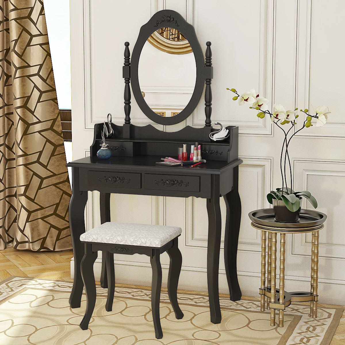 Panana 4 ящика туалетный столик набор туалетный столик с мягким табуретом спальня макияж стол черный - 2